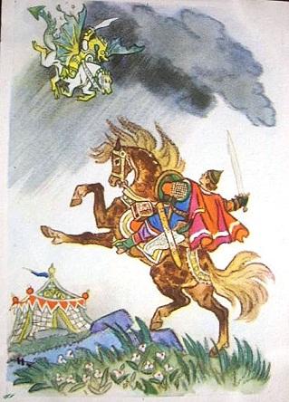 иллюстрация к подвигу богатыря Алеши Поповича
