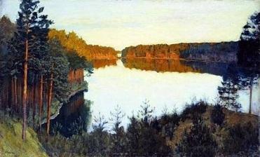 Рассказ по картине Левитана Озеро